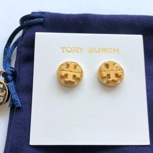 Tory Burch Gold Clover Pearl Stud Earrings NEW